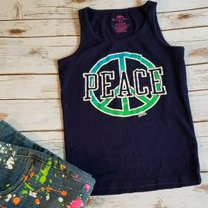 ⬇⬇ Justice PEACE Sign Tank Top Navy Girls 14